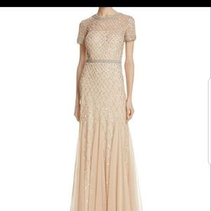 Adrianna papell champagne cap gown